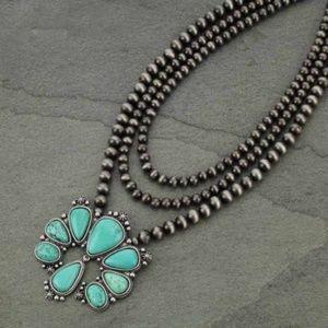 Squash Blossom Naja Natural Stone Necklace